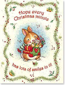Christmas Note Card Set<BR/>12 of 1 design - Hope every Christmas minute has lots of smiles in it! | Tina Wenke | 92095 | Leanin' Tree