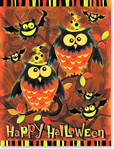 Halloween Note Card Set<BR/>8 of 1 design - Hope your Halloween is a real hoot! | Victoria Hutto | 92374 | Leanin' Tree