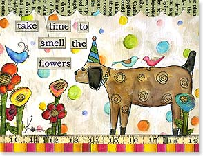 Birthday Card - Take Time To Smell The Flowers | Lisa Kaus | 95313 | Leanin' Tree
