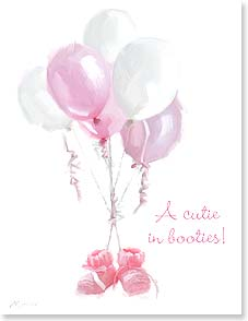 Baby Congratulations Card - A Cutie in Booties | Richard Macneil | 95351 | Leanin' Tree
