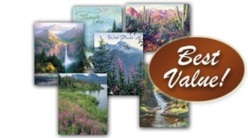 Mountain Majesty Note card Assortment; One of many Christmas card assortments and Everyday Greeting Card assortments from Leanin' Tree.